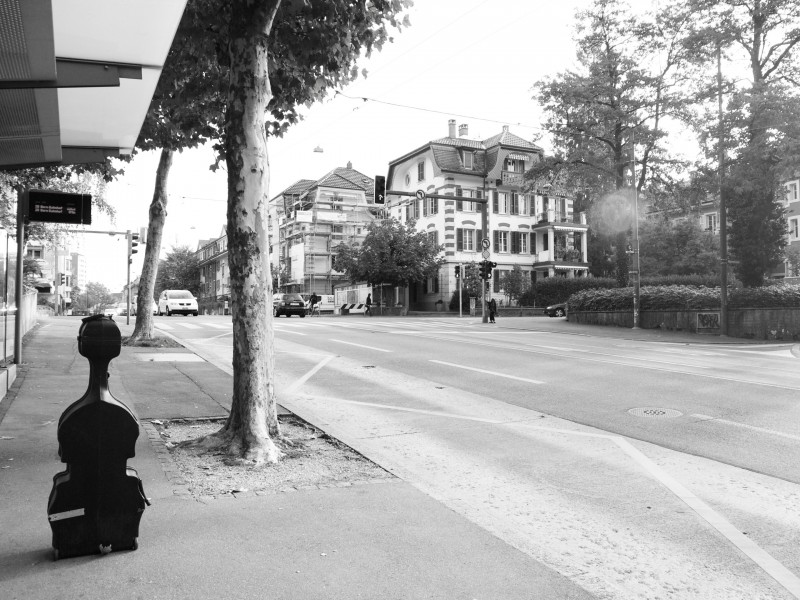 A lonely cello in the streets of Zurich, by Steve Wickham, Oct '11